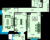 2 комнатная квартира 57.78 кв. м.