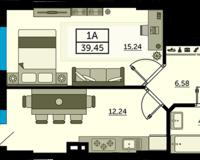 1 комнатная квартира 39.45 кв. м.