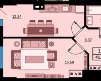 1 комнатная квартира 41.42 кв. м.