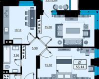 3 комнатная квартира 53.14 кв. м.