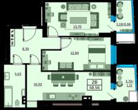 2 комнатная квартира 58.56 кв. м.