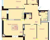3 комнатная квартира 117.15 кв. м.