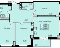3 комнатная квартира 88.93 кв. м.