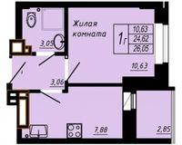 1 комнатная квартира 26.05 кв. м.