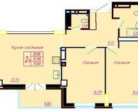 2 комнатная квартира 70.4 кв. м.