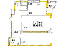 2-комнатная квартира 61.3 кв. м.