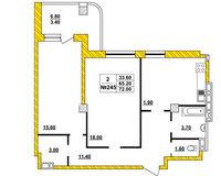 2-комнатная квартира 72.0 кв. м.