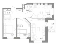 3-комнатная квартира 61.7 кв. м.