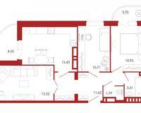 3-комнатная квартира 77.55 кв. м.