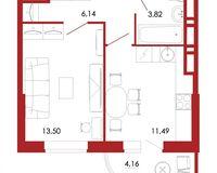 1-комнатная квартира 39.11 кв. м.