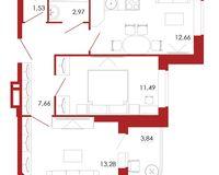 2-комнатная квартира 53.43 кв. м.