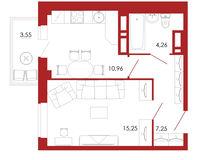 1-комнатная квартира 41.27 кв. м.