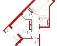 2-комнатная квартира 62.65 кв. м.
