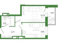1-комнатная квартира 36.16 кв. м.