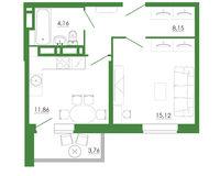 1-комнатная квартира 43.05 кв. м.