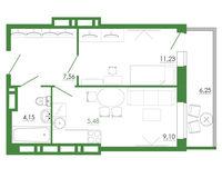 2-комнатная квартира 43.77 кв. м.