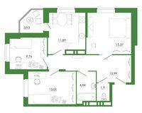 3-комнатная квартира 74.63 кв. м.