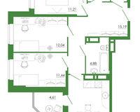 3-комнатная квартира 76.36 кв. м.
