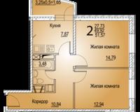 2-комнатная квартира 51.57 кв. м.