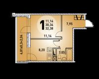 1-комнатная квартира 32.38 кв. м.