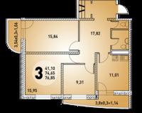 3-комнатная квартира 76.85 кв. м.