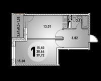 1-комнатная квартира 39.72 кв. м.
