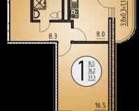1-комнатная квартира 37.3 кв. м.