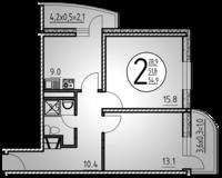 2-комнатная квартира 54.9 кв. м.