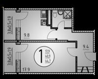 1-комнатная квартира 44.7 кв. м.