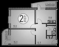 2-комнатная квартира 66.6 кв. м.