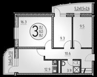 3-комнатная квартира 66.1 кв. м.