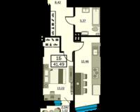 1-комнатная квартира 41.49 кв. м.