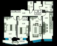 3-комнатная квартира 77.22 кв. м.
