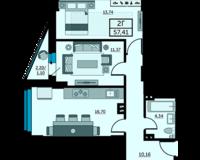 2-комнатная квартира 57.41 кв. м.