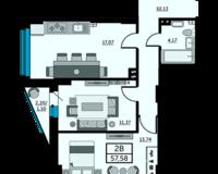 2-комнатная квартира 57.58 кв. м.