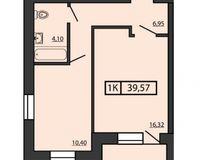 1-комнатная квартира 39.57 кв. м.
