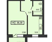 1-комнатная квартира 38.38 кв. м.