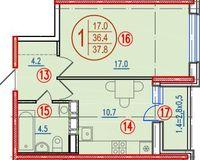 1-комнатная квартира 37.8 кв. м.