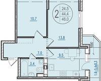 2-комнатная квартира 46.0 кв. м.