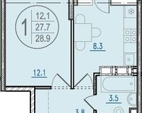 1-комнатная квартира 28.9 кв. м.
