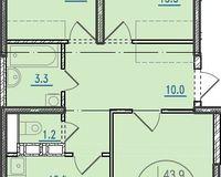 3-комнатная квартира 73.1 кв. м.