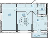2-комнатная квартира 44.6 кв. м.