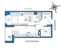 1 комнатная квартира 43.66 кв. м.