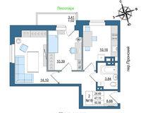 2 комнатная квартира 50.56 кв. м.