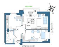 2 комнатная квартира 57.09 кв. м.