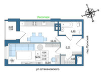 1 комнатная квартира 44.38 кв. м.