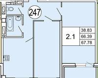 Типовая планировка 2- комнатной квартиры