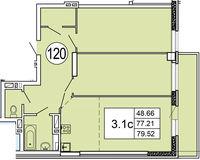Типовая планировка 3- комнатной квартиры