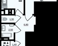 2 комнатная квартира 56.85 кв. м