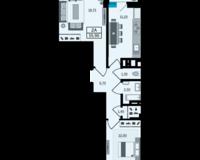 2 комнатная квартира 55.9 кв. м